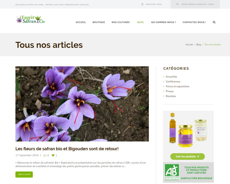 Boutique en ligne-Esprit Safran-Finistère