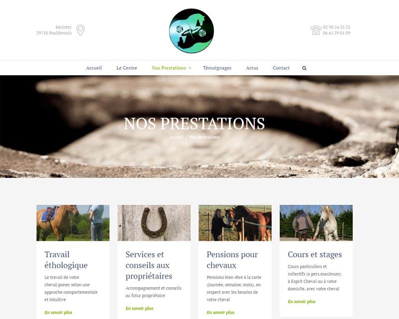 Site internet-Centre équestre-Les prestations