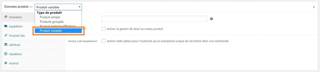 WooCommerce-Produit variable